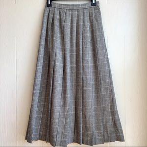 Vintage 100% Pure Wool Glen Plaid Midi Skirt